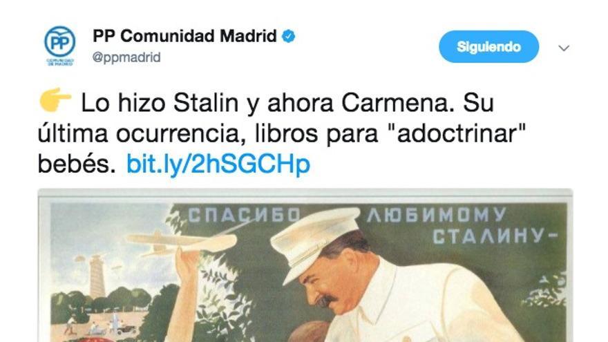 Tuit del PP madrileño