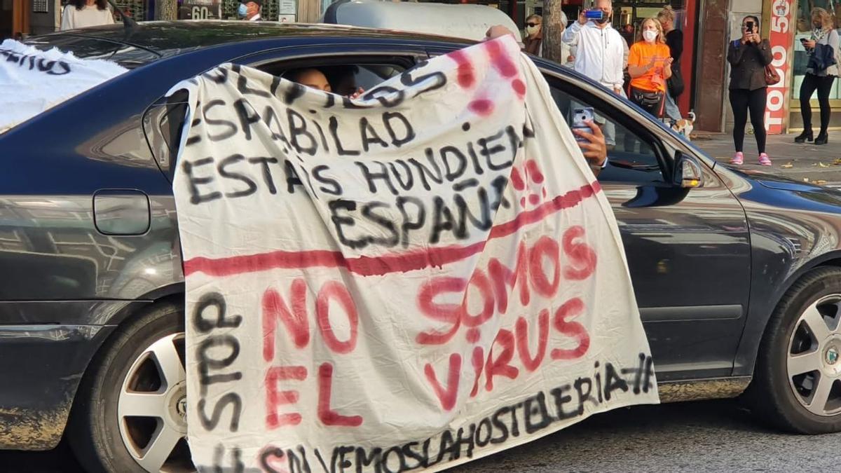 Protesta de hosteleros en Santander.
