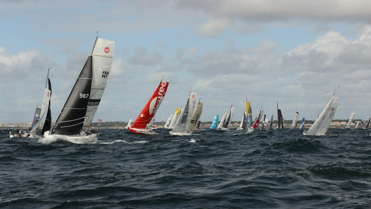 Imagen de la salida de  la regata 'Mini Transat EuroChef  2021'.