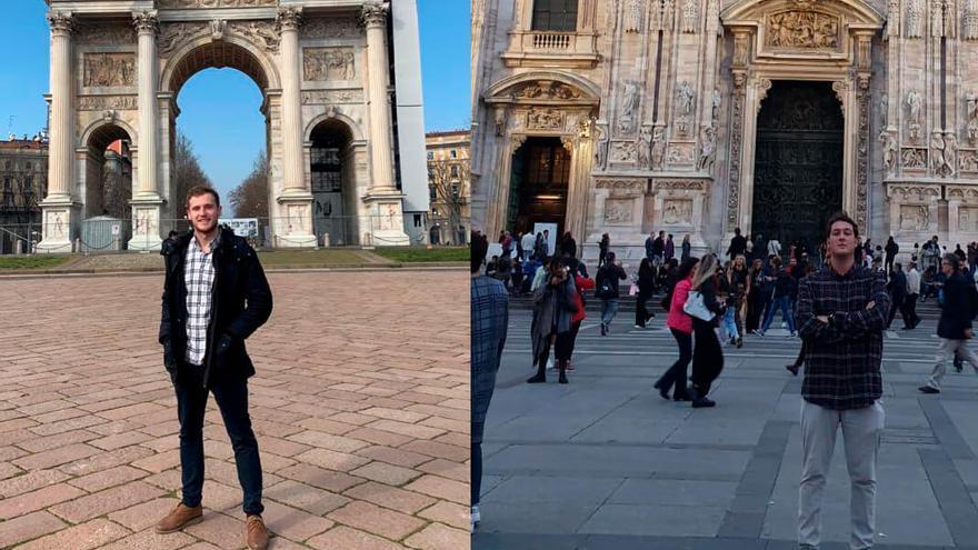 Germán, a la izquierda, y Ricardo, a la derecha, estos días en Milán.