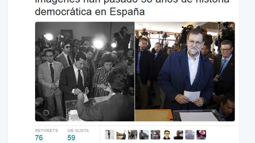 Tuit del Ministerior del Interior en el que compara la votación de Suárez en 1977 con la de Rajoy de este domingo