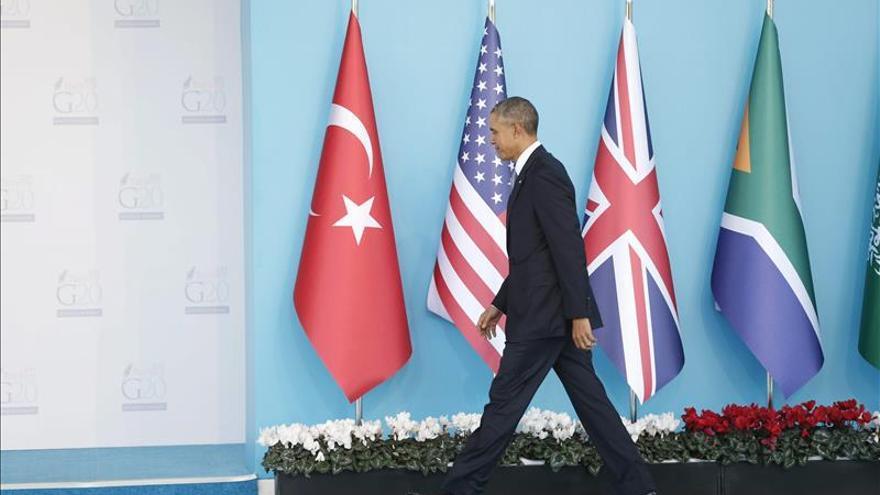 Rajoy y Obama conversan antes del almuerzo de trabajo de la cumbre del G20