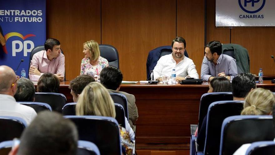El presidente del Partido Popular de Canarias, Asier Antona durante la reunión de la Junta Directiva Autonómica del PP de Canarias celebrada en Santa Cruz de Tenerife.