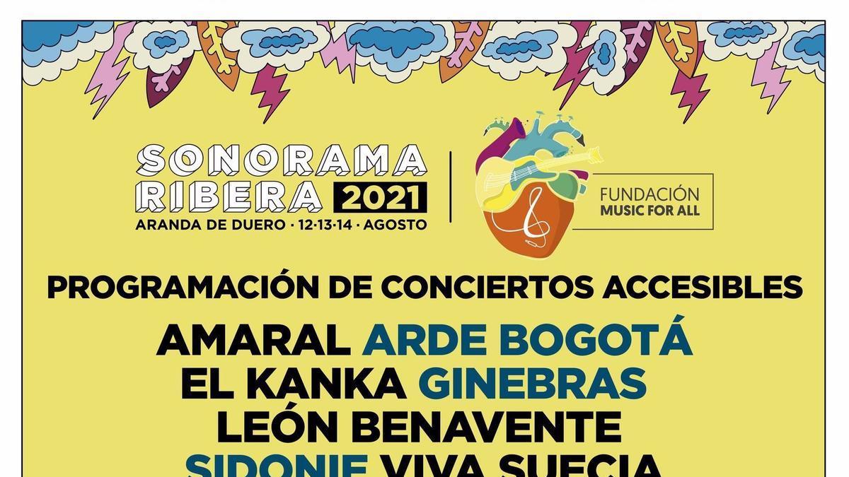 Cartel informativo del Sonorama Ribera 2021 que será accesible para personas con diferentes capacidades.