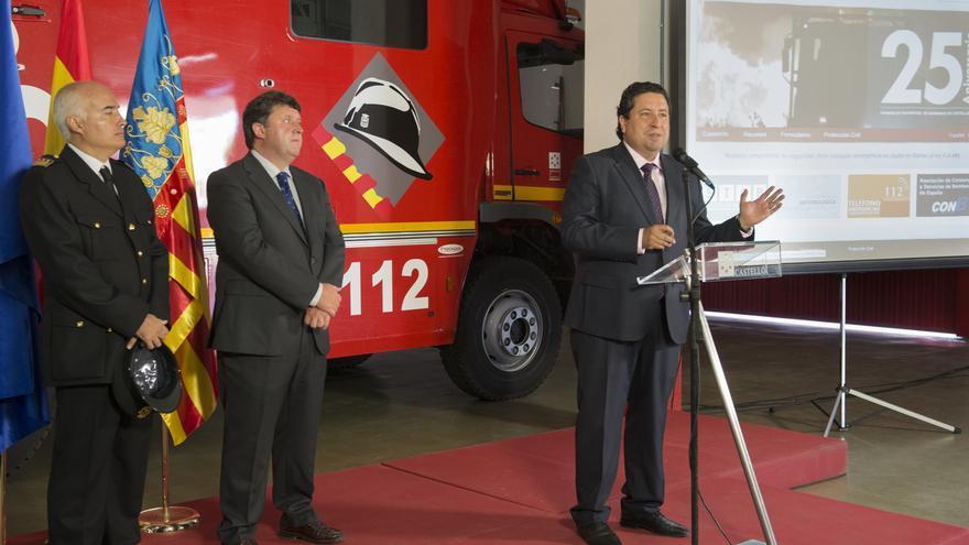 El presidente de la Diputación de Castellón, Javier Moliner, en un acto del Consorcio de Bomberos con Luis Rubio.