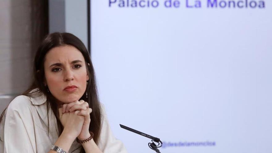 La ministra de Igualdad, Irene Montero, durante la rueda de prensa posterior a la reunión del Consejo de Ministros.