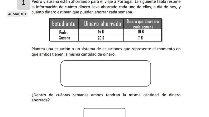 Ejemplo de pregunta de competencia matemática de enseñanzas académicas.