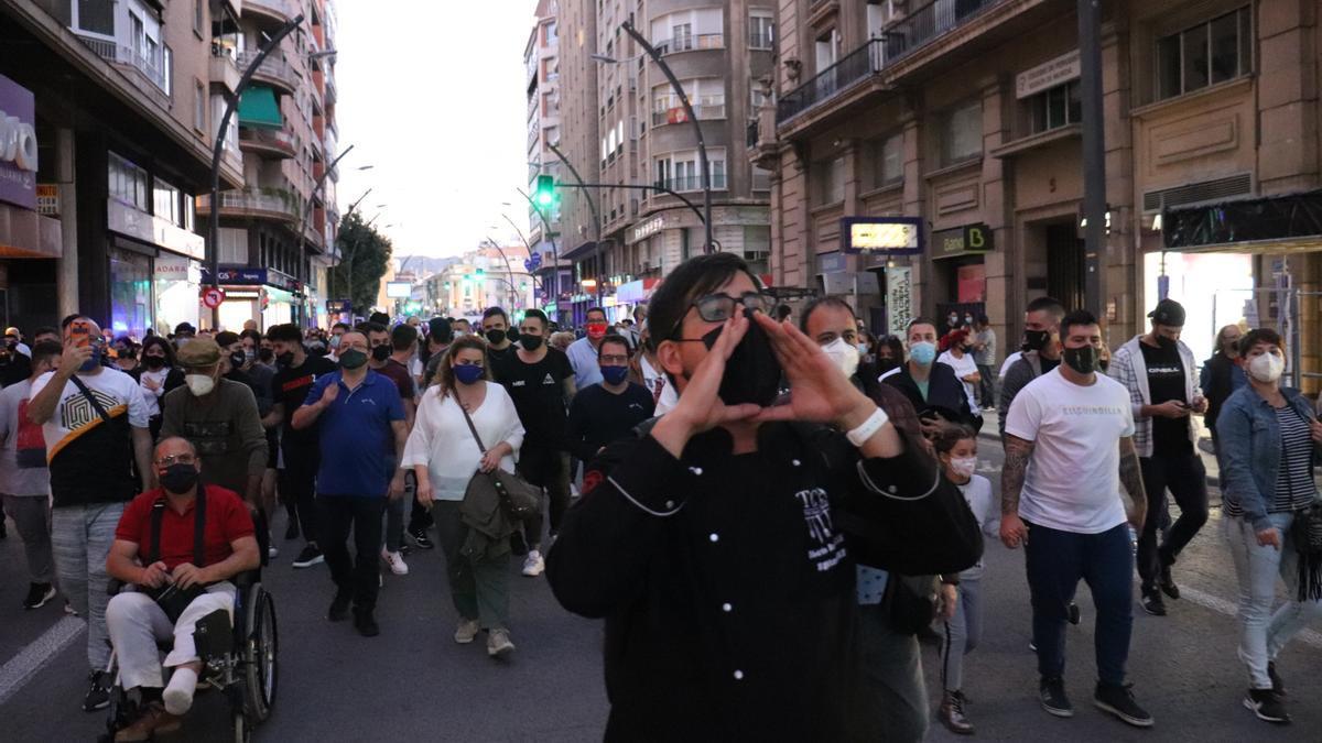 Protesta contra el cierre de la hostelería en la Gran Vía de Murcia