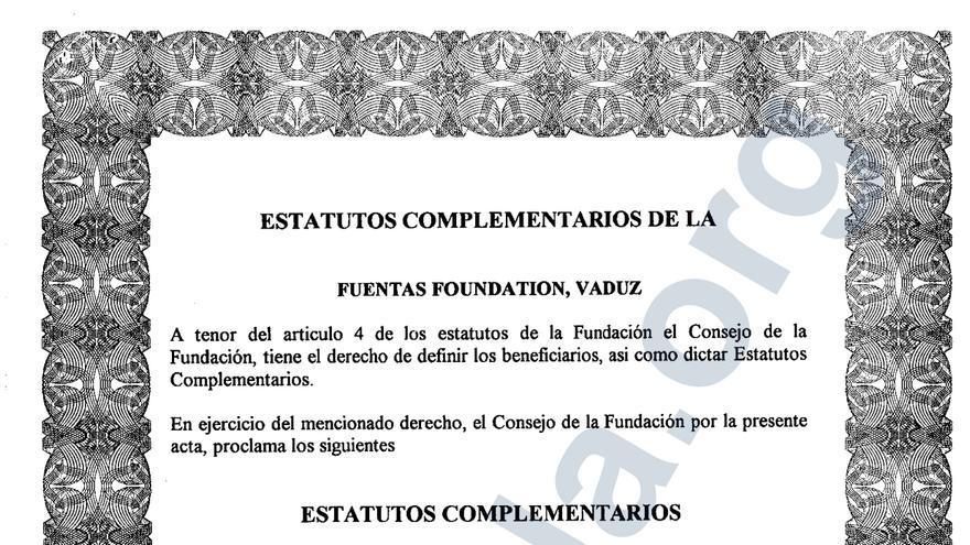 Estatutos de la Fundación Fuentas, donde aparecen los Pérez-Maura como beneficiarios