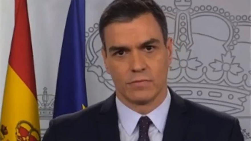 El presidente del Gobierno, Pedro Sánchez, durante uno de sus discursos.