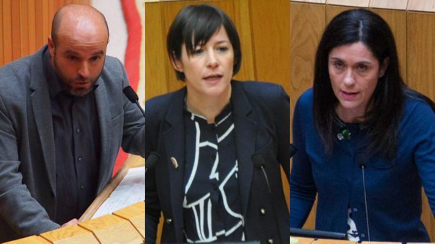 Luís Villares (En Marea), Ana Pontón (BNG) y Paula Prado (PP), durante el debate