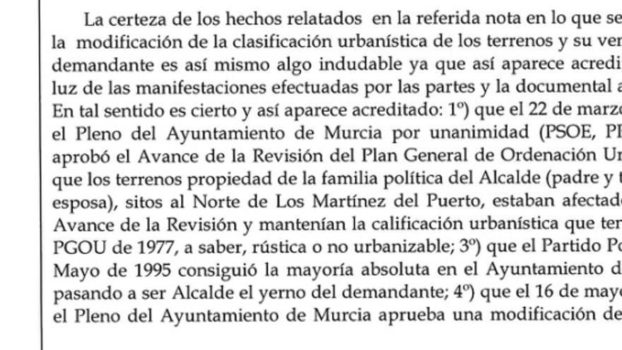 Fragmento de la sentencia por la que se desestimó la demanda contra el concejal del PSOE José Zapata / MJA