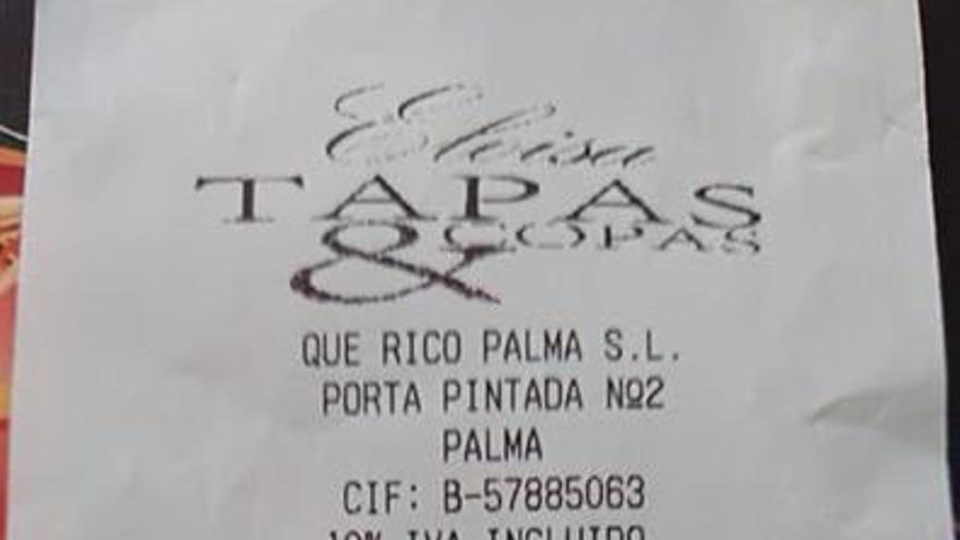El ticket con el zumo de naranja a 15 euros