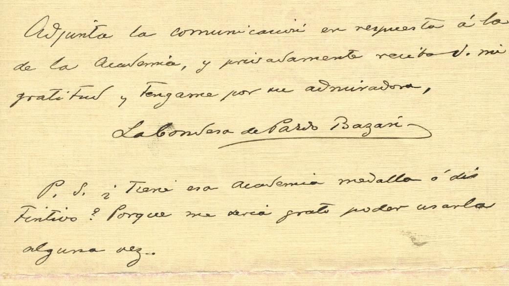 Carta enviada por Emilia Pardo Bazán a Enrique Romero de Torres en 1913 (reverso).