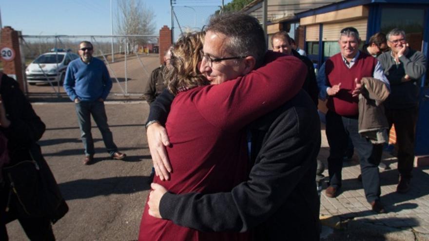 Ignacio Huertas, en el momento de salir de prisión / @UPAUCE_Extr