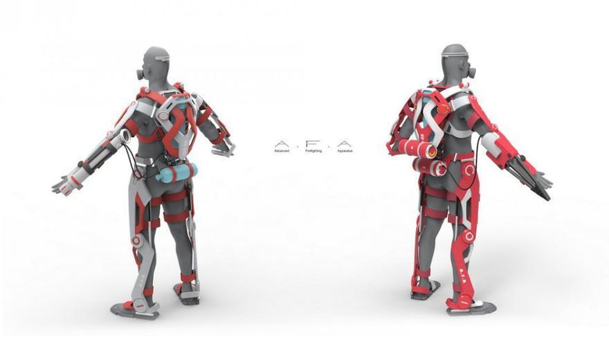 Este exoesqueleto permitirá que el bombero se mueva con total libertad