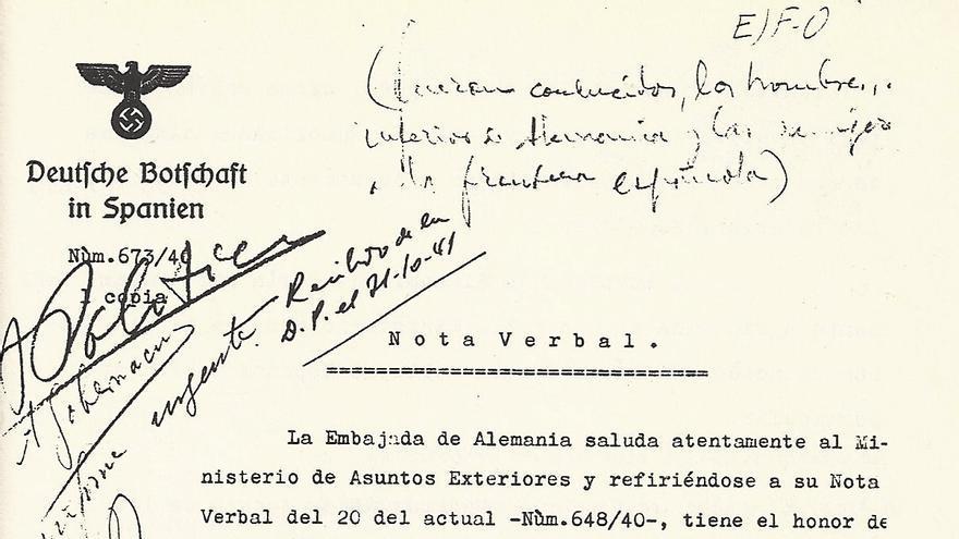 Carta enviada por la Embajada nazi en Madrid al Ministerio de Asuntos Exteriores