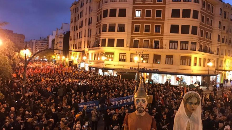 Vista de la manifestación por una financiación justa en Valencia.