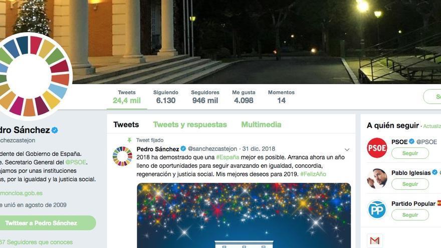 Un círculo de 17 colores en el avatar de Twitter del presidente Pedro Sánchez.
