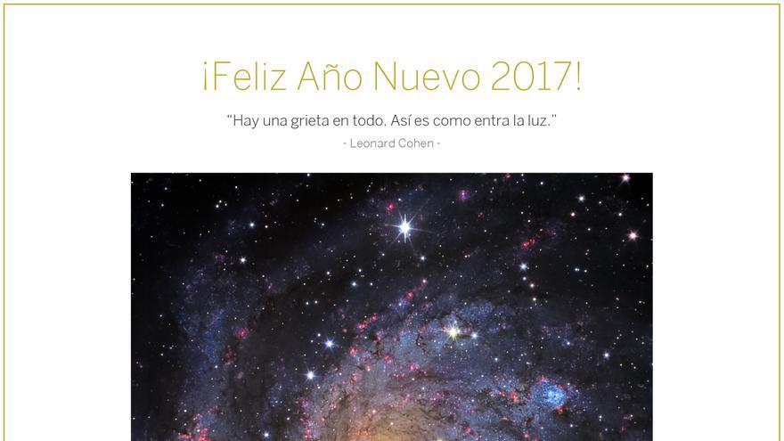 Postal con imagen de la galaxia NGC 6946 obtenida con el instrumento en el Gran Telescopio Canarias  (GTC), instalado en el Observatorio del Roque de los Muchachos (Garafía). Crédito: Equipo GTC/Daniel López/IAC.