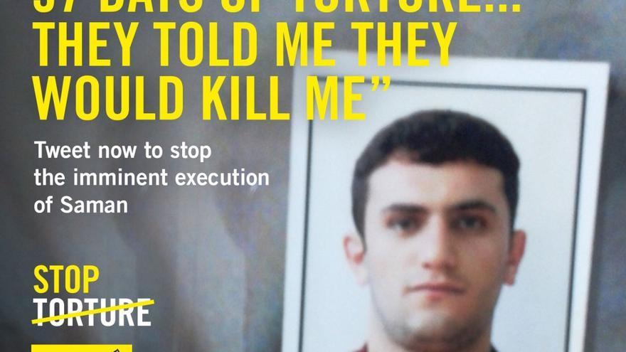 Saman Naseem, joven iraní condenado a muerte, cuya ejecución está prevista para el próximo 19 de febrero. © AI