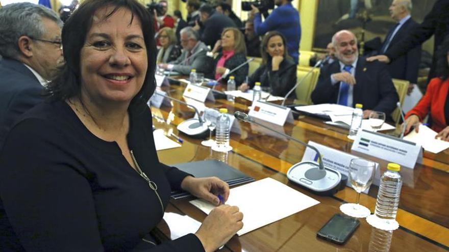 La consejera de Educación y Universidades, Soledad Monzón, durante la Conferencia Sectorial de Educación celebrada en la sede del Ministerio, en Madrid. EFE/Fernando Alvarado