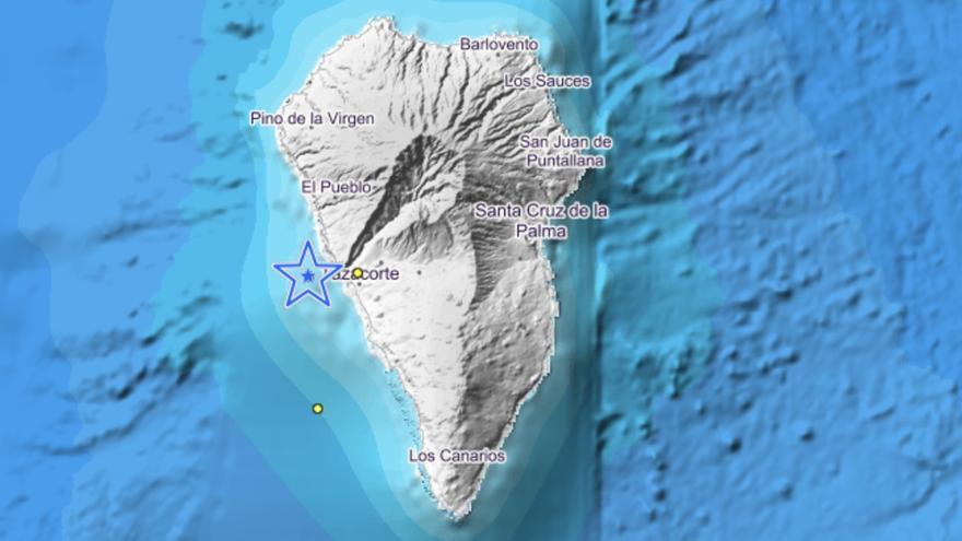Imagen del IGN en la que se indica el lugar donde se han localizado los tres movimientos sísmicos registrado  este martes en la zona oeste de La Palma.