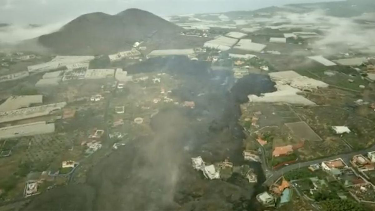 Ubicación actual de la colada de lava en La Palma.