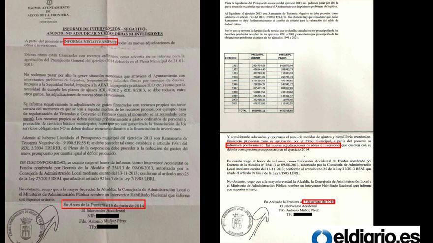 Informes de intervención municipal del Ayuntamiento de Arcos.
