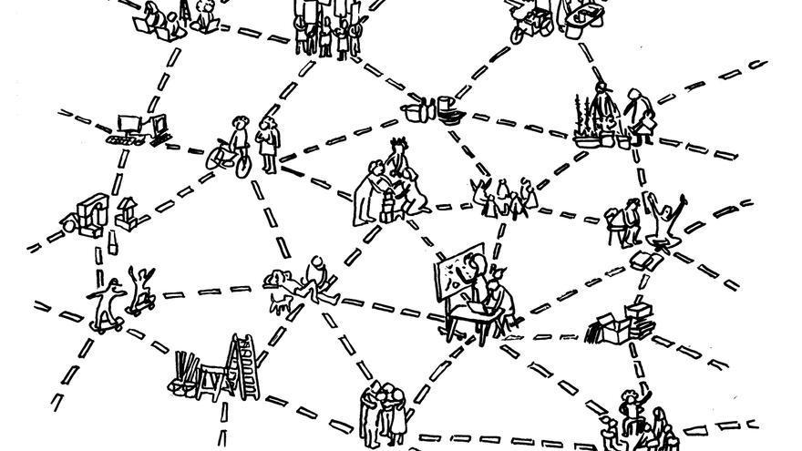 la P2Ppolítica funciona de una forma parecida a cómo lo hace una red peer-to-peer. @ColaBoraBora, bajo una licencia CC 3.0 BY-SA 3.0