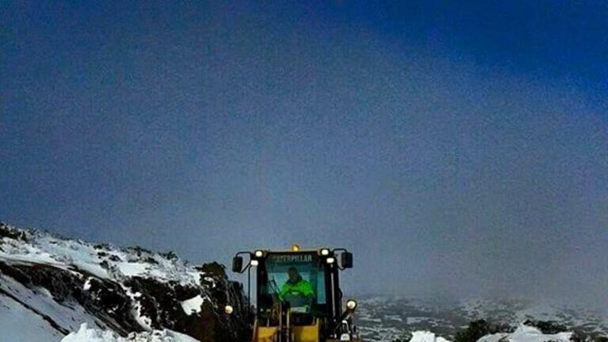 Los trabajadores de Carreteras ya trabajan en la limpieza de la TF24 La Esperanza-El Portillo./ Carlos Martín