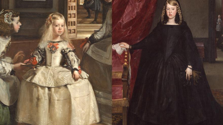 Izquierda: 'Las meninas', de Velázquez (1656). Derecha: 'Doña Margarita de Austria', de Juan Bautista Martínez del Mazo (1665-1666)