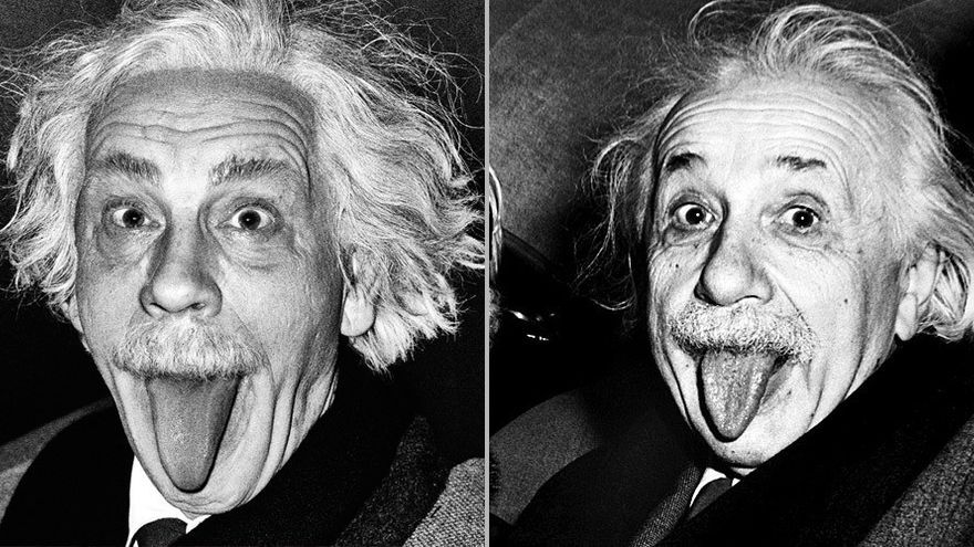 'Arthur Sasse / Albert Einstein Sticking Out His Tongue (1951), 2014'/ Sandro Miller: Malkovich, Malkovich, Malkovich (Catherine Edelman Gallery)