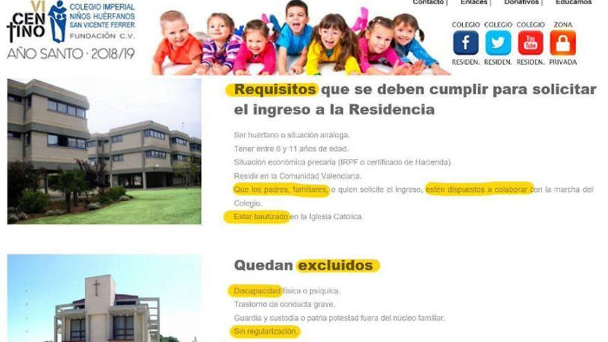 Imagen de los requisitos que exige el centro en su web para ingresar en la residencia