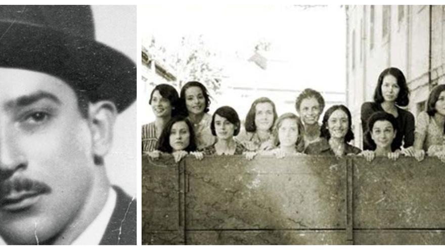 El comandante Isaac Gabaldón a la izquierda y un fotograma de la película 'Las 13 rosas' a la derecha