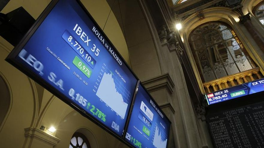 El IBEX 35 suaviza sus ganancias a mediodía y sube el 0,92 %