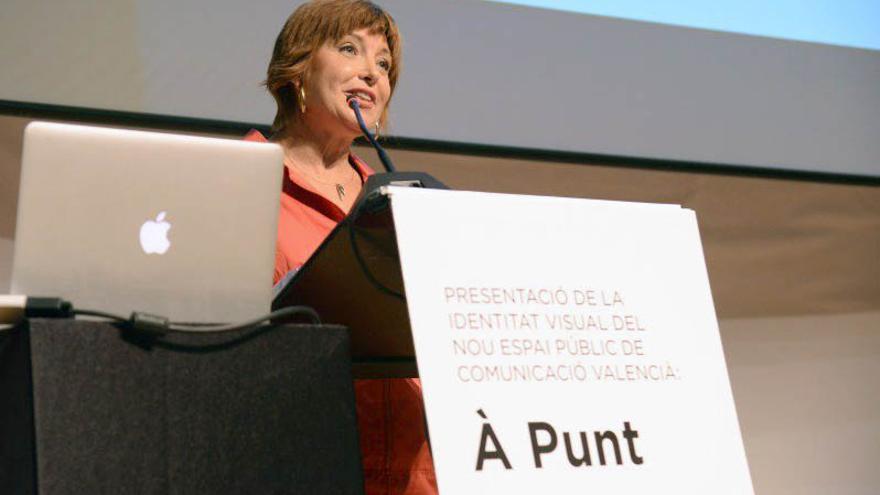 La directora de À punt, Empar Marco, en la presentación de la imagen corporativa de la nueva televisión pública valenciana