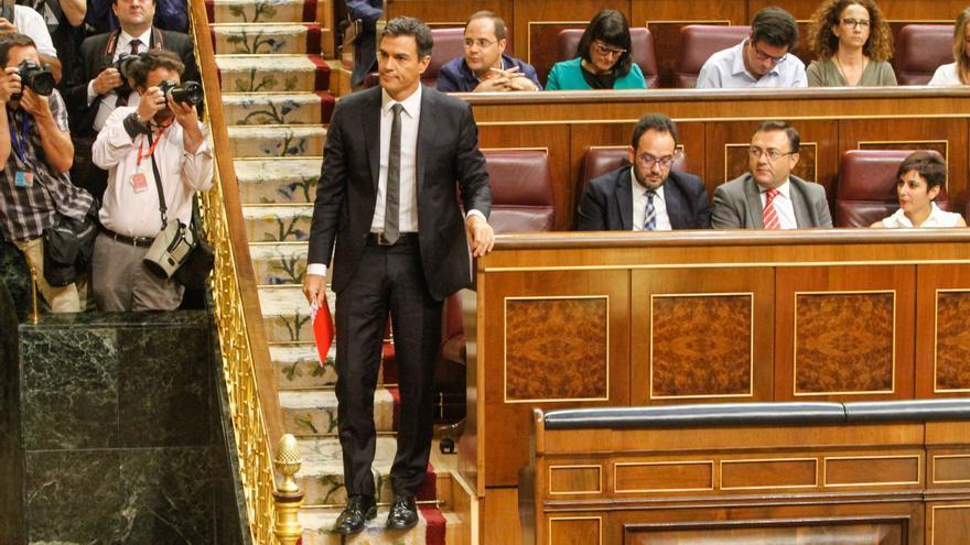 Pedro Sánchez en el hemiciclo durante el debate de investidura