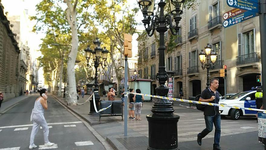 La Rambla, un día después del atentado en Barcelona