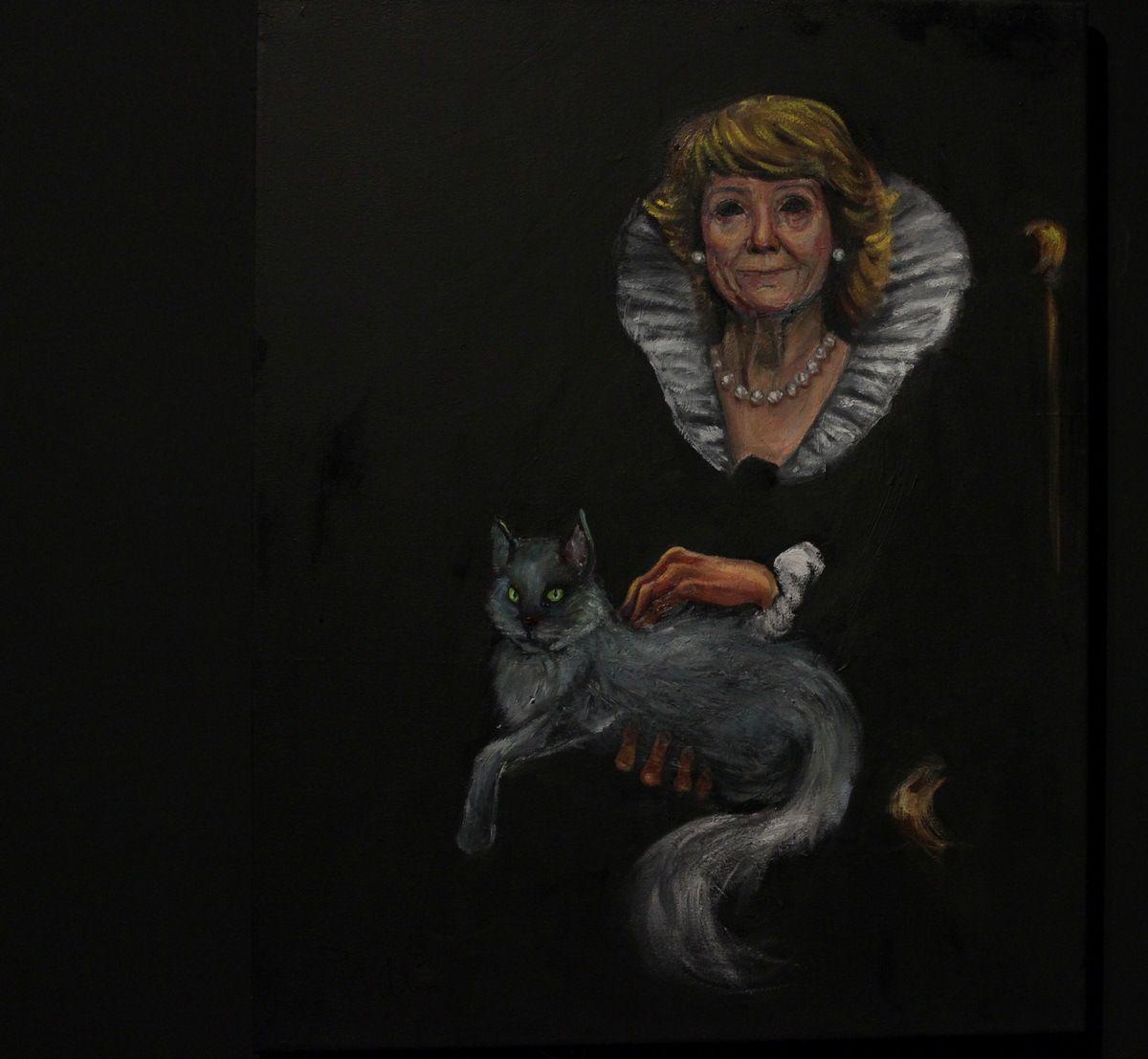 Cuadro de la exposición Haciendo Barrio en el que se retrata a Esperanza Aguirre