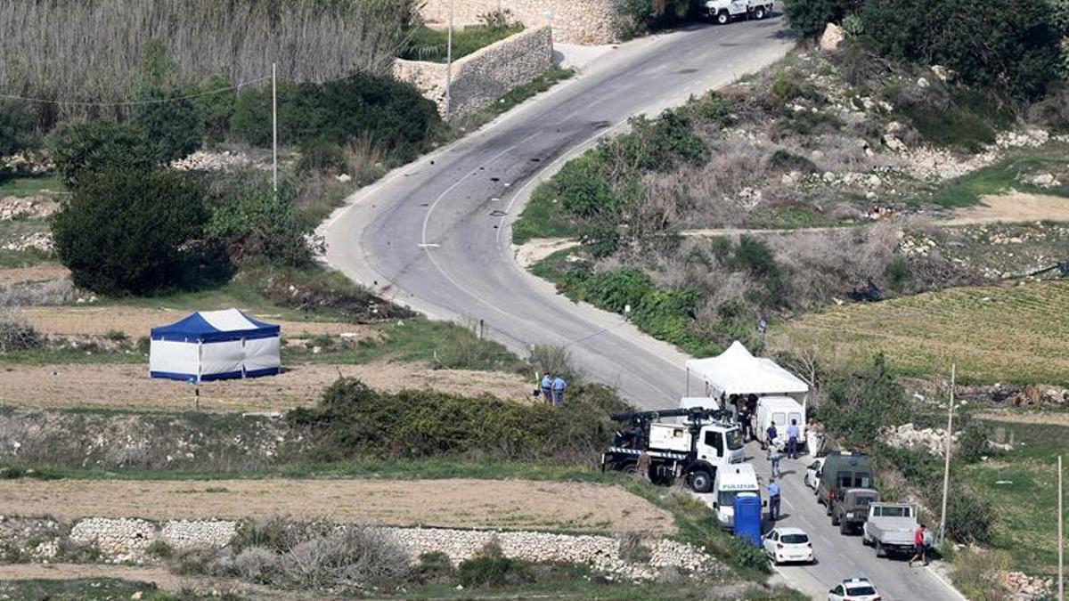 Lugar del atentado contra la periodista maltesa Daphne Caruana Galizia