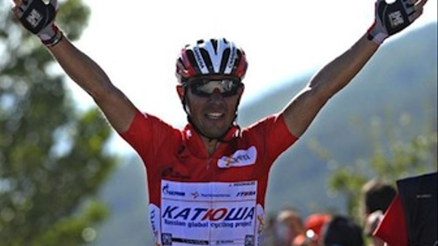 Joaquim Rodríguez celebra su victoria en el Mirador de Ézaro. (EP)