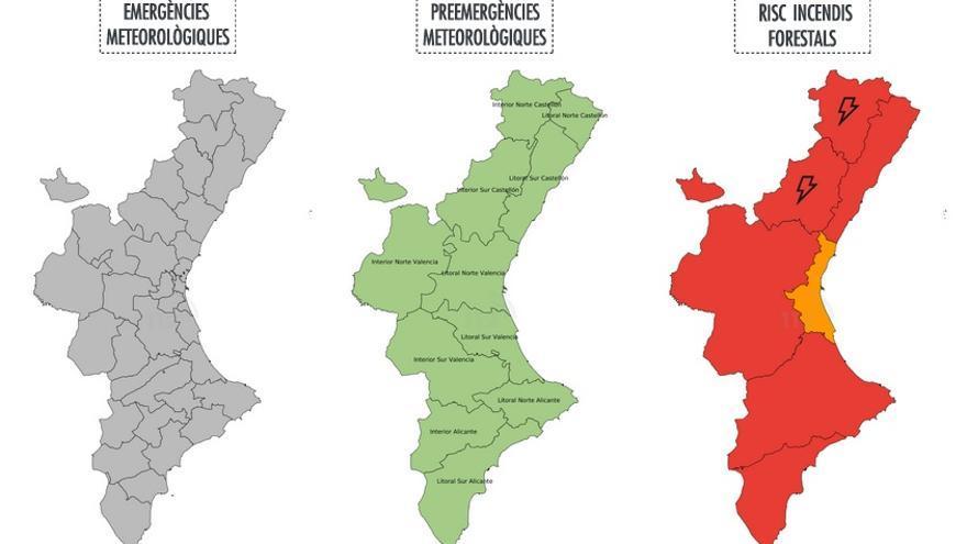 Mapa d'alertes del risc d'incendis d'este dimecres 28 de juny