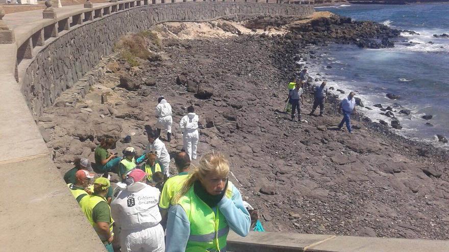 Operarios limpiando el vertido aparecido en Arinaga este viernes