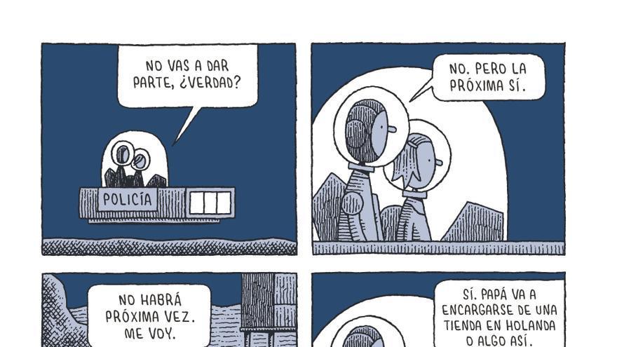 Página de  'Un policía en la luna', de Tom Gauld