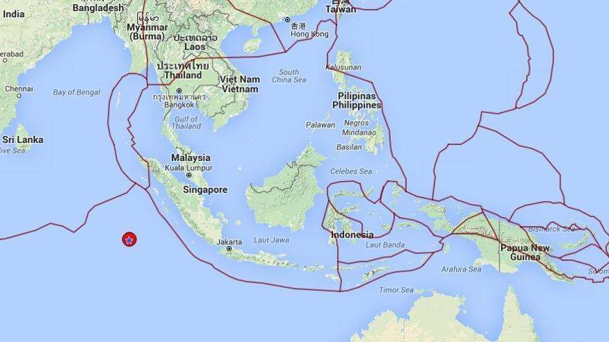 Epicentro del terremoto cerca de Sumatra, Indonesia, según el Instituto Geográfico Nacional.   ign.es.