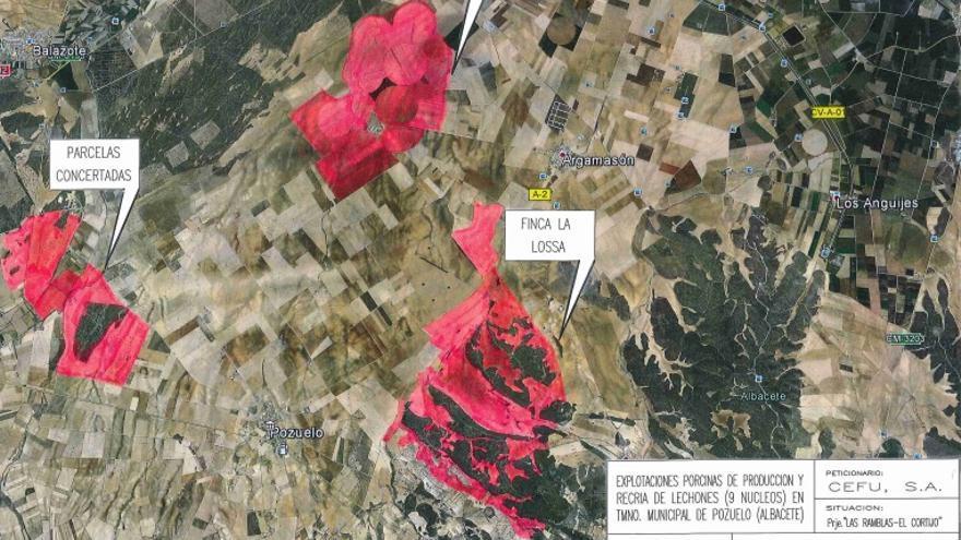Plano de situación de la futura macrogranja en Pozuelo (Albacete)