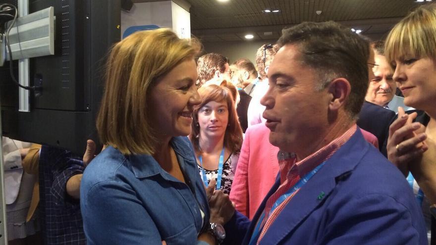 Marcos Martínez junto a María Dolores de Cospedal durante la Intermunicipal del PP