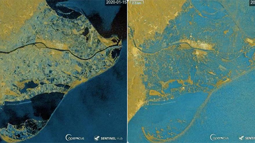 Imágen del satélite Sentinel 1 los días 15 y 21, antes y durante el temporal