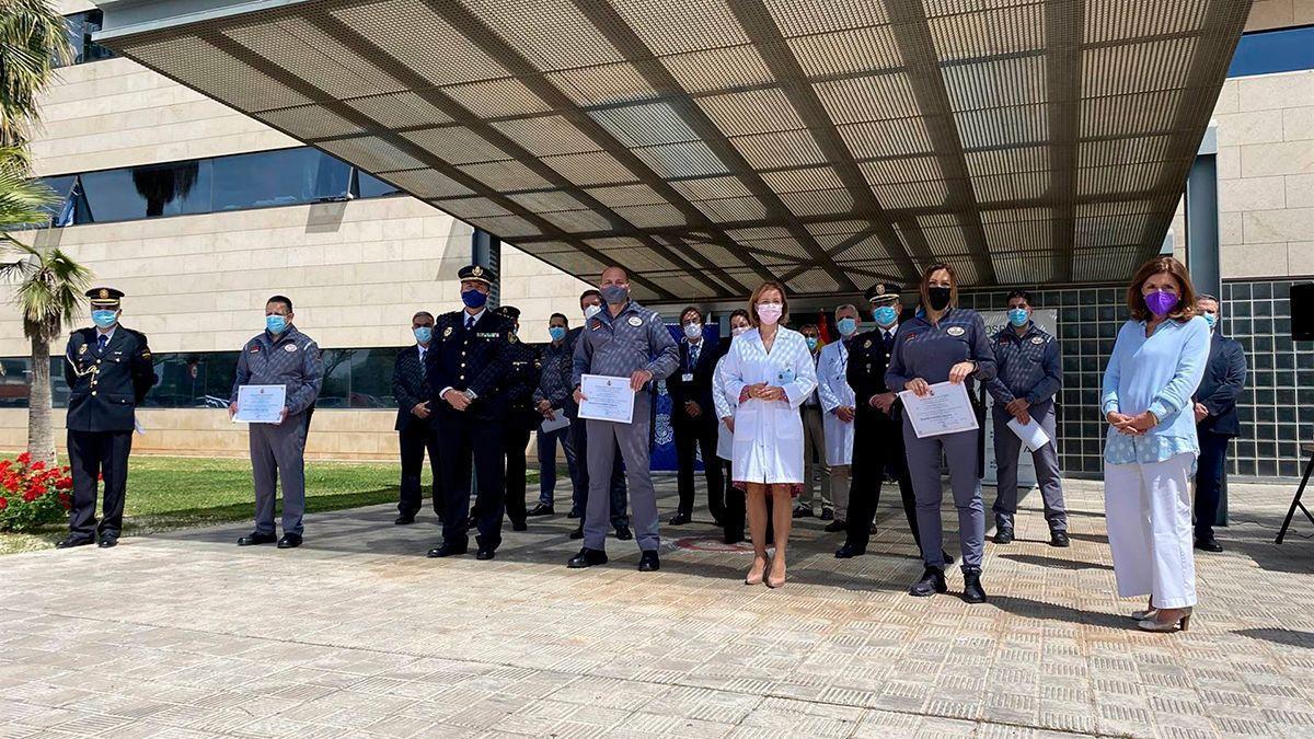 Acto de reconocimiento de la Policía Nacional y la seguridad de Reina Sofía.